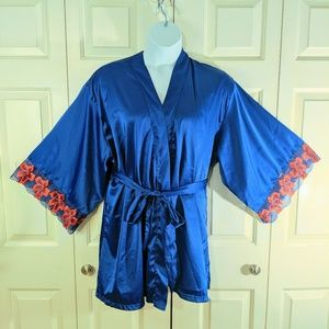 Shortie plus size robe 16/18 sexy satin blue & red